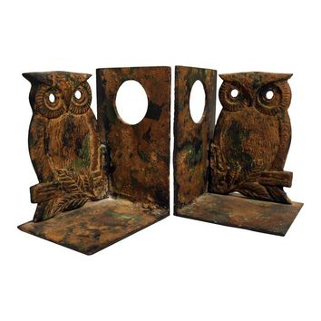 Pre-owned Heavy Owl Iron Bookends - A Pair