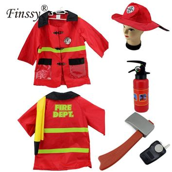Fireman Sam Costume for Boys Girls Halloween Costume for Fancy Dress Party Wear Fireman Cosplay Clothes Hat ax Fire extinguisher