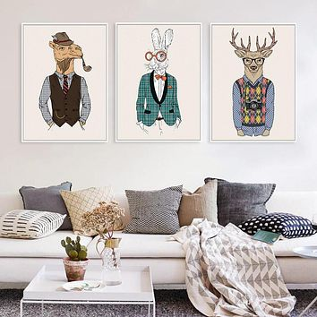 Fashion Animals Giraffe Zebra Horse A4 Vintage Art Prints Poster Hippie Wall Picture Canvas Painting No Framed Office Home Decor