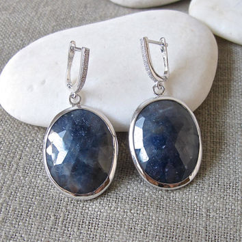 Oval Blue Sapphire Earrings- Stone Earrings- Birthstone Earrings- Gemstone Earrings- Dangle Earrings- Statement Earring- Faceted Earring