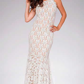 Ivory Fitted Lace  Jovani Dress 41269