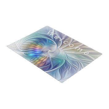 Floral Fantasy, abstract and modern Fractal Art Doormat
