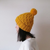 Hand Knitted Hat in Yellow - Beanie with Pom Pom - Seamless - Wool Blend