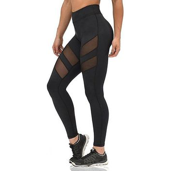 Sexy Black Slim Fitted Mesh Patchwork Fashion Leggings