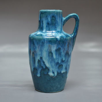 Scheurich jug - West German pottery - vintage vase with amazing teal dripping glaze