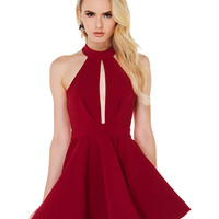 Sleeveless Backless High Waisted Skater Dress