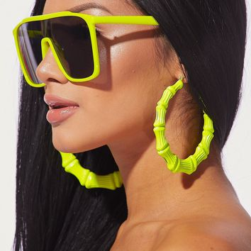 Bamboo Oversized Hoop Earrings Neon Yellow