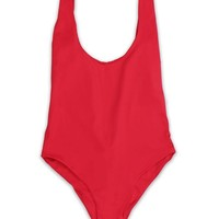 Low Back Moderate Coverage One Piece - Cherry