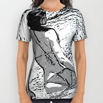 Sexy at the Beach, perfect shapes bikini girl bathing in bay, hot black and white All Over Print Shirt by hmdesignspl