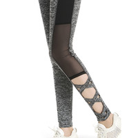Mesh Leggings 2016 Activewear Sexy Grey Leggins Black Leggings Spliced Women Autumn Winter Workout Leggings High Waist Leggings