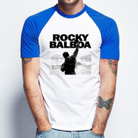 Rocky Balboa Short Sleeve Raglan - White Red - White Blue - White Black