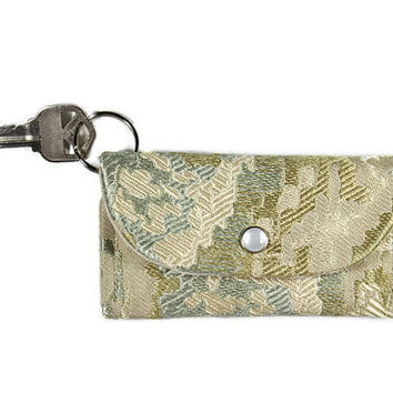 Beige Keychain Wallet with Olive Earth Tone Medley, Student ID Holder on Key Ring, Card Holder, Dorm Room Key Ring with Free Shipping