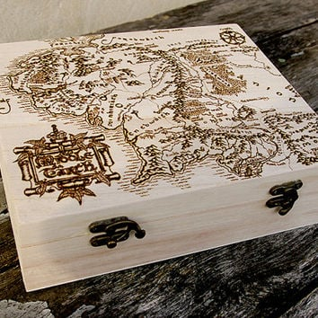 The Lord of the Rings inspired Middle Earth Map pyrography art box