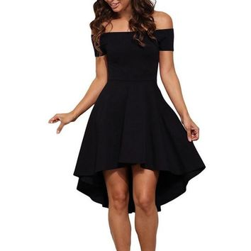 Womens Short-Sleeves High-Low Cocktail Dress