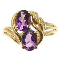 GENUINE 1.50CT OVAL AMETHYST RING SOLID 14K YELLOW GOLD