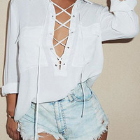 White Front Cross Stitching Lapel Chiffon Shirt