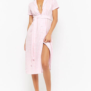 Self-Tie Gingham Shirt Dress