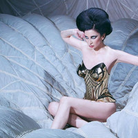Female cosplay Gold,comic con, wonder woman, armor, sci fi cosume, lady gaga, burning man, steampunk, futuristic clothing, fusion bra