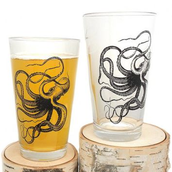 Set of Two Pint Glasses - Octopus