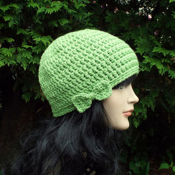 Light Spring Green Crochet Hat - Womens Beanie with Bow - Ladies Winter Cap - Ski Hat
