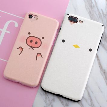 SoCouple Silk Pattern TPU Case For iphone 7 7plus 8 6 6s 6/7/8plus Silicone Lovely Animals Pig Bear Rabbit Chicken Phone Cases