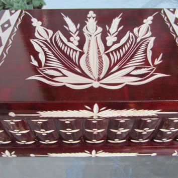 Maple Hungarian Jewelry Box Traditional Piggy Puzzle Bank Still w/ Key & Lock (Red)