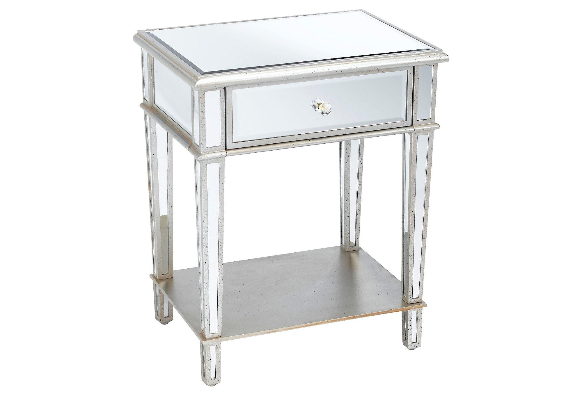 Roosevelt mirrored nightstand silver from one kings lane for Cheap bed stands