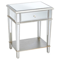 Roosevelt Mirrored Nightstand, Silver, Nightstands