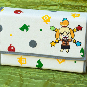 3DS XL Hard Case Hand Painted with Animal Crossing Pattern and Daisy