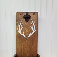 Rustic bottle opener with cap catcher, Deer antler bottle opener, Mancave decor, Cabin decor, Gifts for him