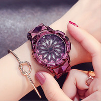 Ladies Womens Purple steel strip Watch Silver Gold Bling Crystal Analog Flower Quartz Watch
