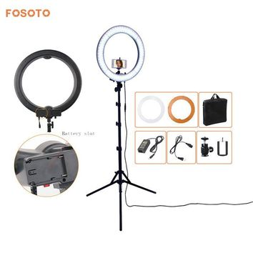 "fosoto Camera Photo Studio Phone Video 18"" 55W 5500K 240 LED Photography Dimmable Ring Light Lamp with battery Slot&Tripod Stand"