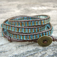 Beaded Leather Wrap Bracelet 4 Wrap with Blue by BraceletsByBetz