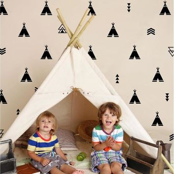 Teepee and Arrow Wall Decals - Tee Pee vinyl wall stickers Tribal Nursery Decor
