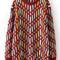 Burgundy Geometric Print Knit Sweater