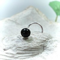 Nose Stud Onyx Silver