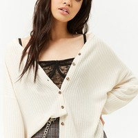 Button-Front Knit Top