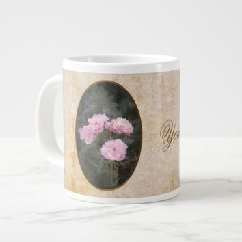 Vintage design. Photo of pink roses. Add your text Giant Coffee Mug