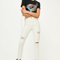 Missguided - White Sinner High Waisted Ripped Skinny Jeans