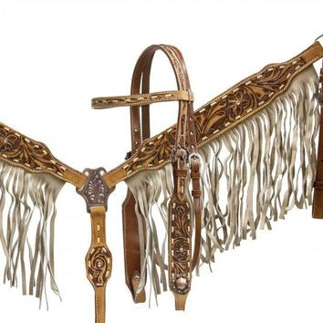 Showman ® double stitched leather headstall and breast collar set with tan suede fringe and floral tooling