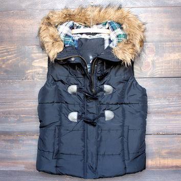 mountain slopes fur hooded black puffer vest