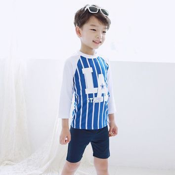 Childrens Swimsuit Cute 1-12 Years Baby Boys Swimwear Two Pieces Summer Toddler Baby Swimming Clothing Children's  Blue Striped Swimming Trunks KO_25_2