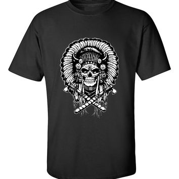 Native American Indian Chief Skull T-Shirt