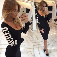 Print Hollow O-neck Long Sleeve Knee-length Dress