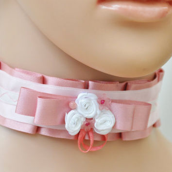Pink kawaii choker, Pink Lace Lolita Collar, Sweet Gothic Fashior, Pink Harajuku style, Pasetl gothic lace Victorian Bow necklace Romantic