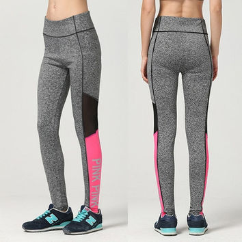 ACTIVEWEAR PINK COLOR BLOCK MESH PANEL LEGGINGS