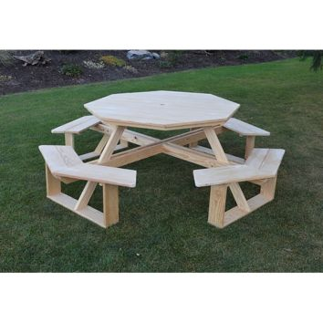 "A & L Furniture Co. Pressure Treated Pine 54"" Octagon Walk-In Table - Specify for FREE 2"" Umbrella Hole  - Ships FREE in 5-7 Business days"