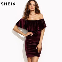 Women's Dresses New Arrival Sexy Club Dresses Burgundy Ruffle Off The Shoulder Short Sleeve Velvet Body Con Mini Dress