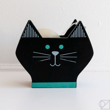 Happy Cat Day Black Kitty Tape Dispenser