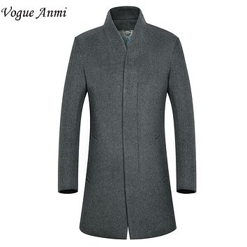 Vogue Anmi.New Man Long trench coat wool coat Winter Men's wool Thick Coat mens overcoat men's coats male clothing,M-3XL